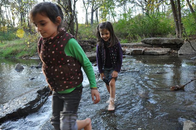 girls in creek