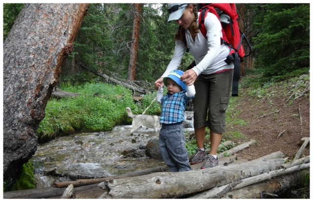 Megan Patterson and her 2 year old son in Twin Lakes, CO