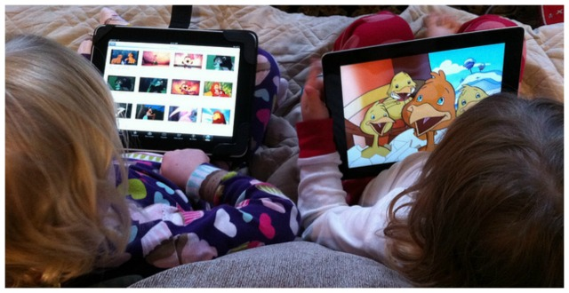 girls watching tv on ipad