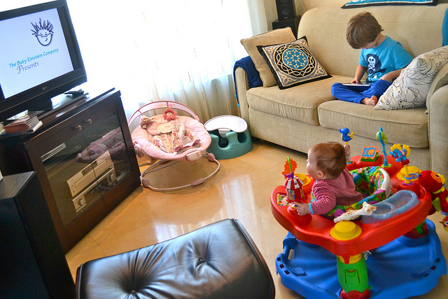 ipad, baby einstein and exersaucer