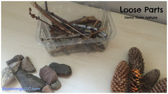 Collect loose parts from nature: rocks, sticks, pine cones, seashells, sea glass, acorns, bark (BlueMangoLLC.com)