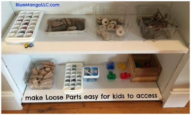Make loose parts easy for kids to access by storing neatly on child level shelves